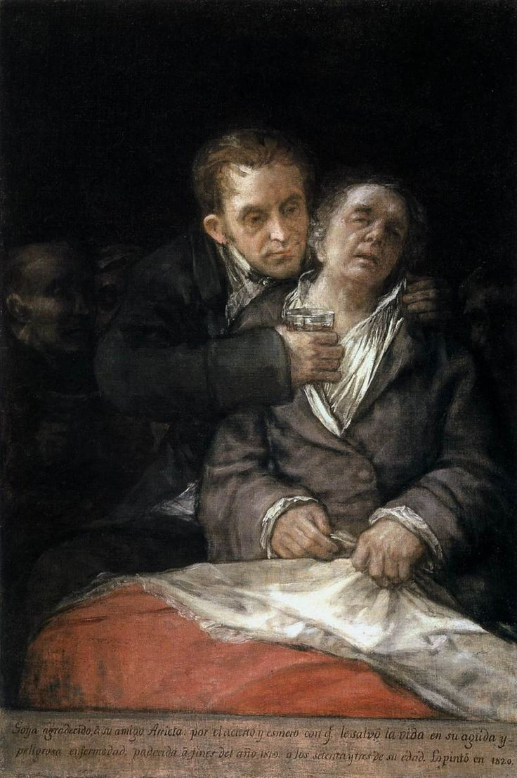 Francisco de Goya - Self Portrait with Doctor Arrieta (oil on canvas, 1820)